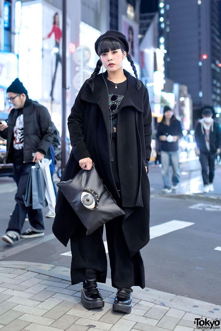 Spiked Eyeball Purse, Twin Braids & Dark Fashion in Harajuku