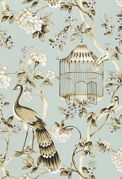 "Oiseaux et Fleurs Schumacher Wallcovering  SKU - 5004080  Match - half drop  Width - 27""  H Rep - 27""  V Rep - 36""  featured in ""Signature Prints""  BK721994"