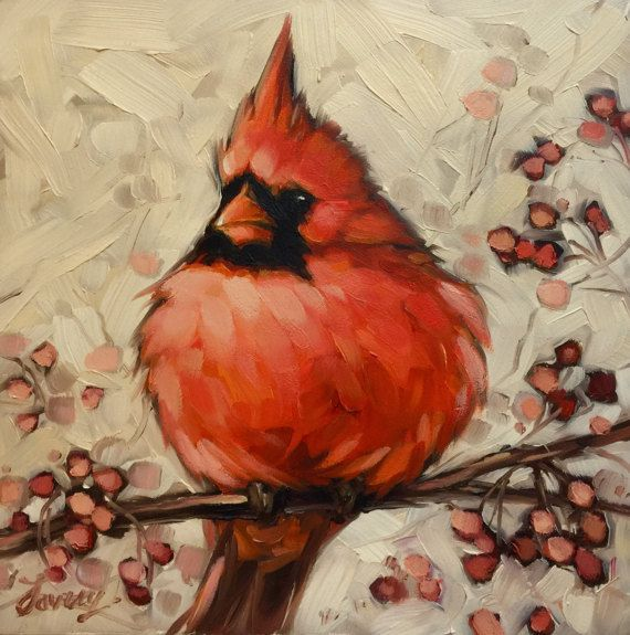 "Cardinal painting, 6x6"" original oil painting of a male Cardinal. Bird artwork, bird paintings"