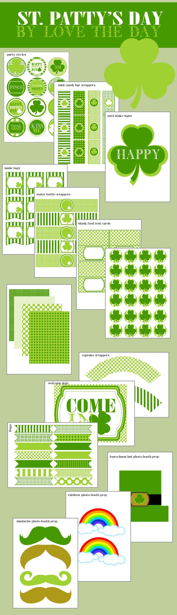 freeby free printable imprimible gratis stationery papelería carteles cupcakes St. Patrick's Day green verde trébol shamrock party fiesta miraquechulo