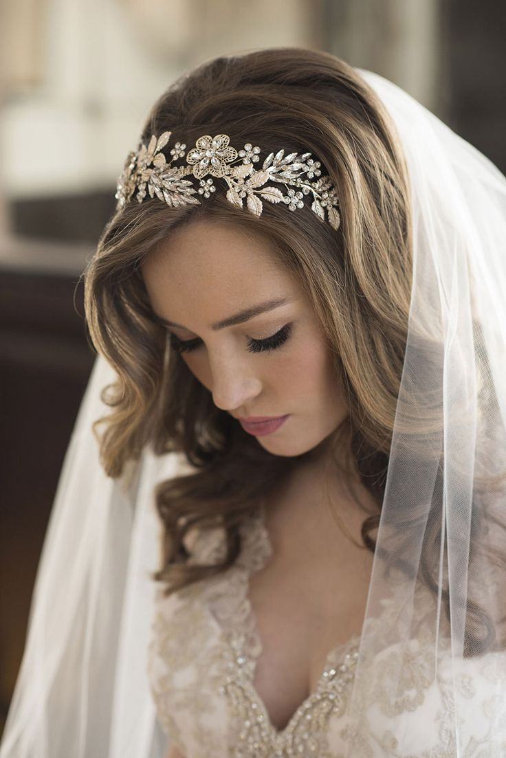Bel Aire Bridal Accessories Gilded Curving Headband Metallic Ribbon Ties 6686 Klk Photography Ebell Wedding Shoot