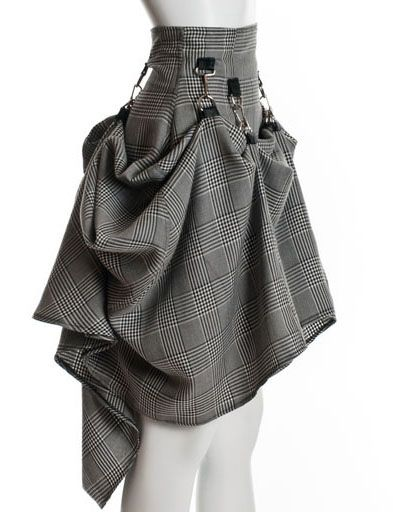 Gray Black Steam Punk Skirt   Long Skirt Skirt   skirt steampunk victorian party plaid   Chic   UsTrendy