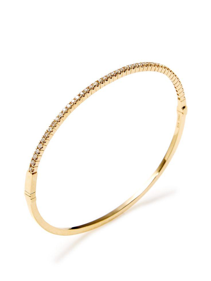 Diamond & Yellow Gold Bangle Bracelet
