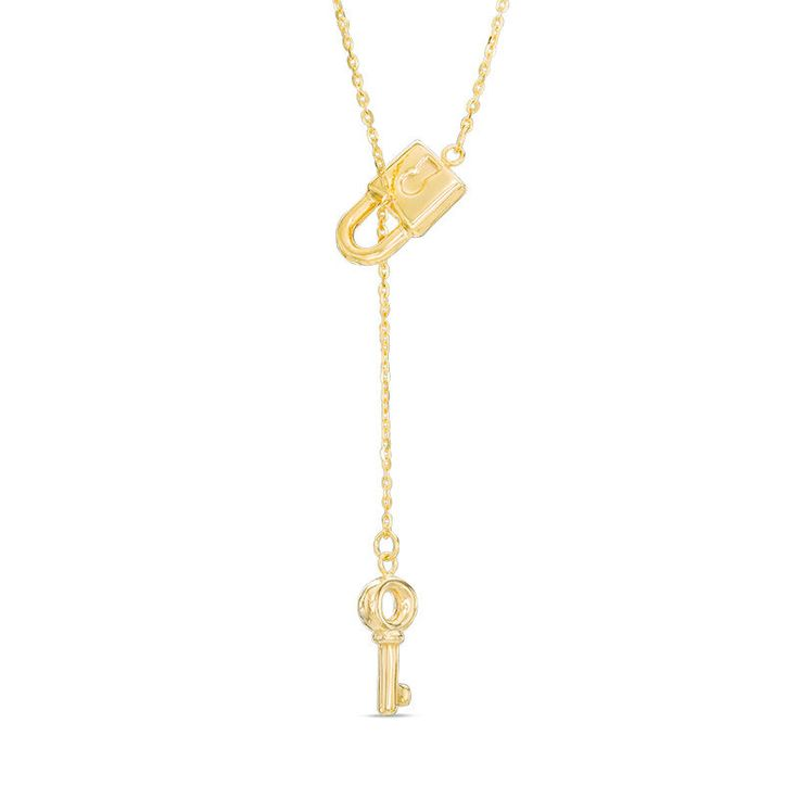 She'll adore the clever look and sweet meaning behind this darling fashion necklace. Created in warm 10K gold, this innovative design showcases an antique key - suspended beneath a slender chain dangle - that threads through the loop of a dainty lock, completing the lariat style. Polished to a bright shine, this 18.0-inch cable chain necklace secures with a spring-ring clasp.