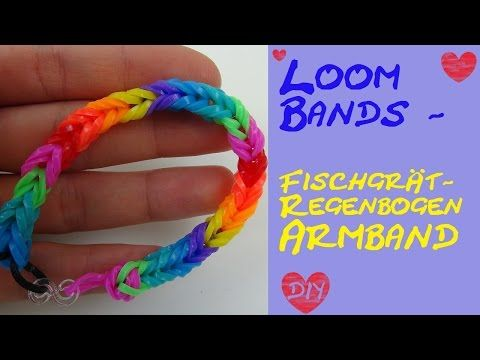 DIY Rundes vierfarbiges Loom Band/ Rainbow Loom Armband/ Anleitung - YouTube