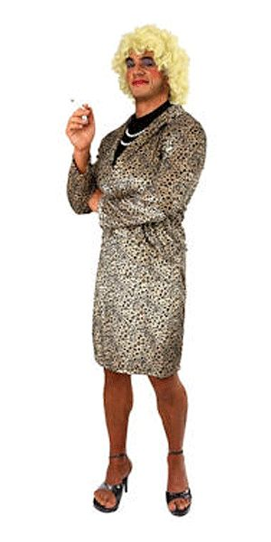Travestiet kostuum met pruik. Complete travestiet verkleedset bestaande uit top met ketting, rok en blonde pruik.