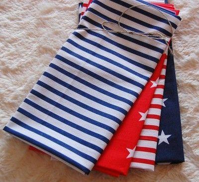 Kup teraz na allegro.pl za 21,00 zł - ZESTAW TKANIN BAWEŁNA - patchwork marynarski  Patchwork fat quarters marine stripes