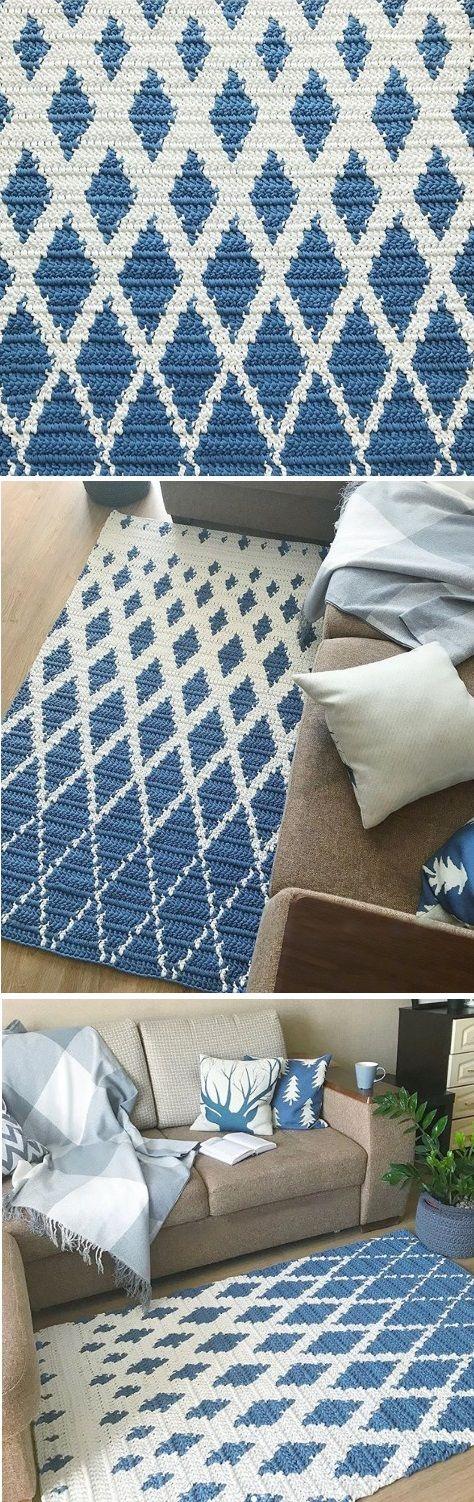 Crochet Diamond Carpet Rug