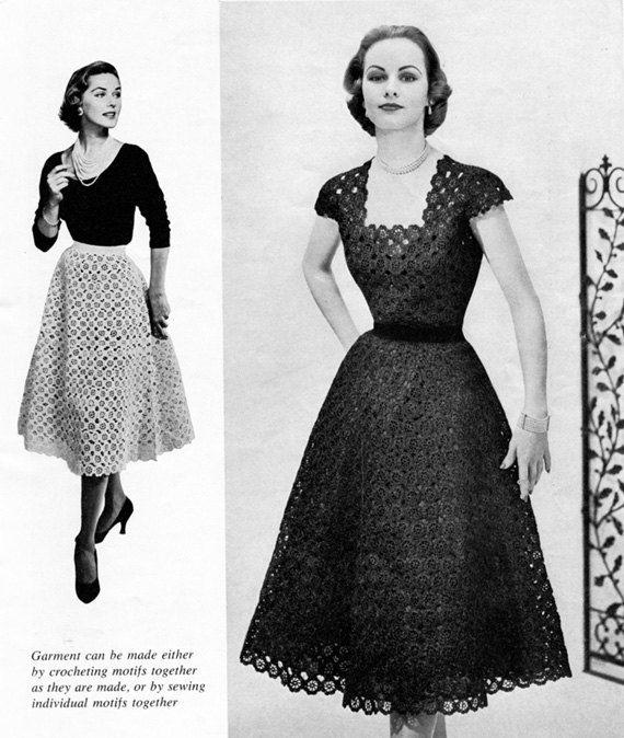 50s vintage Crocheted Floral jurk  patroon van de gehaakte