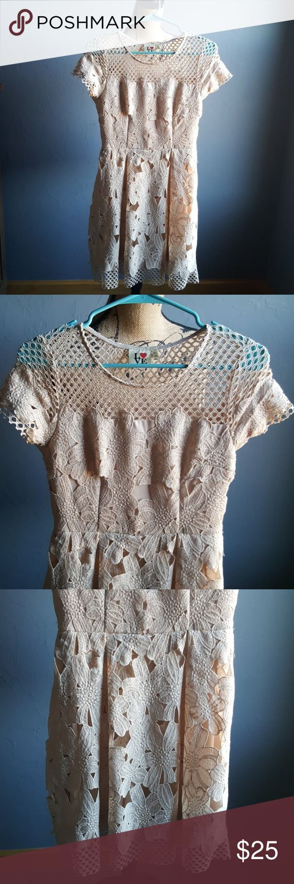 "Love Point Floral Lace Embroidered Boho Dress Awesome floral lace embroidered dress Perfect for the beach or a night out  Dress it up or down In great condition Lined Bust 16"" Waist 13.5"" Length 34"" Love Point Dresses"