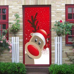 Christmas Deer Pattern Door Art Stickers - RED 38.5*200CM*2PCS Mobile