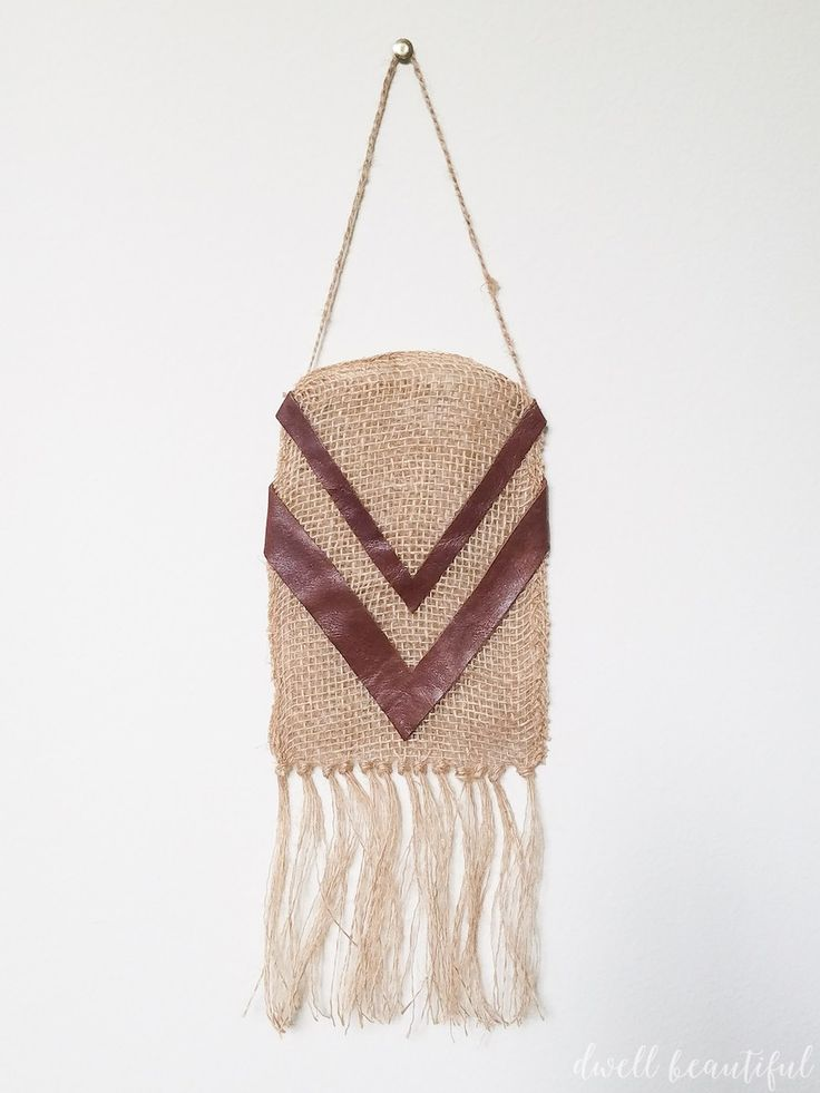 Easy DIY Burlap Ribbon Bohemian Wall Hanging