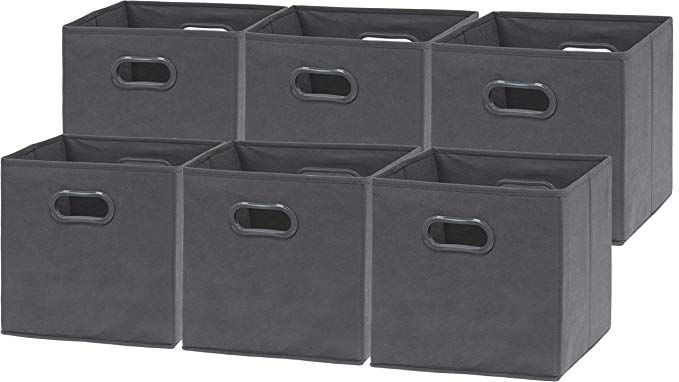 Amazon Com 6 Pack Simplehouseware Foldable Cube Storage Bin With Handle Dark Grey 12 Inch Cube Home Kitchen Cube Storage Bins Cube Storage Storage