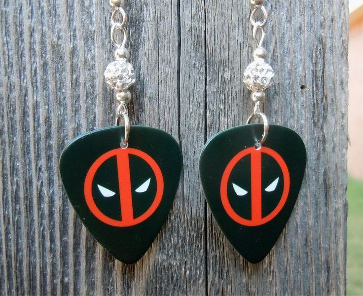 Deadpool Emblem Guitar Pick Earrings with White Pave Rhinestone Beads by ItsYourPick on Etsy