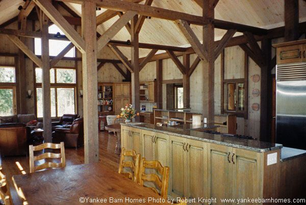 Bear brook lodge beams kitchens and barn for Wooden camp kitchen designs