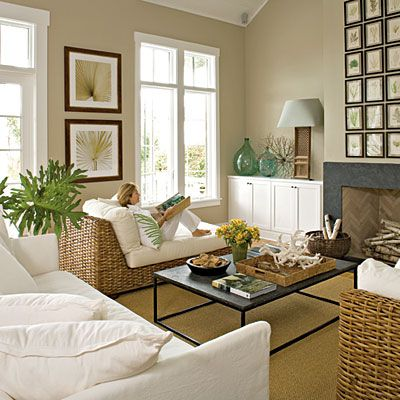 love wicker in family rooms along with upholstery   adds texture