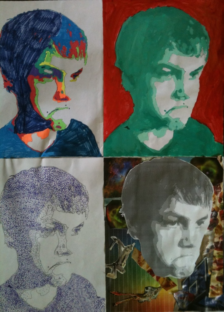 Four portraits mixed media: they are Monochromatic paint, Stippling with marker, Fauvist with gel pens, and collage from magazines. Grade 7