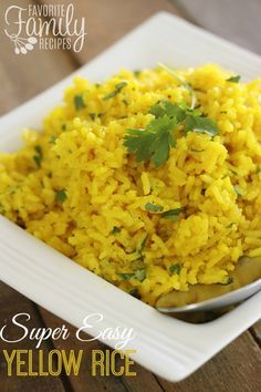 This easy yellow rice recipe is one of our favorite side dishes. It seriously goes with almost anything! You can keep it plain or spice it up to go with different meals.  Find all our yummy pins at https://www.pinterest.com/favfamilyrecipz/