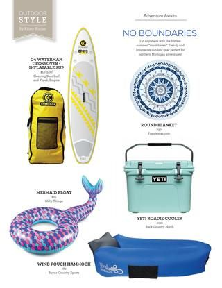 Summer 2017 Favorite Beach Things Stand Up Paddle Board mermaid tube wind seat yeti cooler beach circle blanket Baylife North Magazine July/August 2017  BayLife North Magazine is a high quality publication celebrating the beautiful Northern Michigan area and the wonderful people and local businesses that make it what it is today. We are distributed freely throughout the Northern Michigan area and are available free for download from our website baylifenorth.com