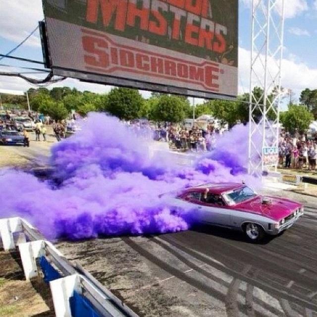Purple burnout! ford