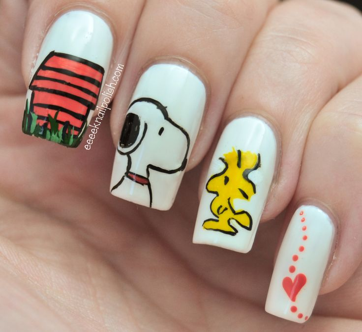 Too cute: Snoopy and Woodstock nailart! - Best 25+ Snoopy Nails Ideas On Pinterest Christmas Tree Nails