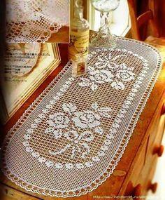 Camino de mesa al crochet con diseño de rosas