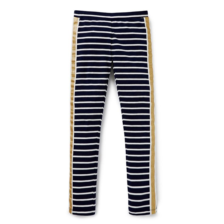 Cotton/Elastane blend. Full length leggings with waistband. Features all-over yarn dyed stripe with glitter print canvas band stripe. Slim fitting silhouette. Available in Navy.
