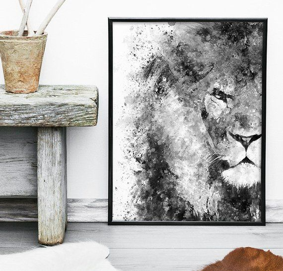 Lion Noire Et Blanc Impression Aquarelle Decoration Murale Etsy