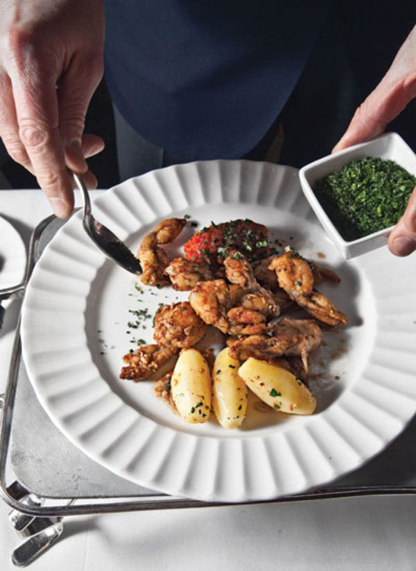 This is a version of the signature frogs' legs served at La Grenouille, the famed French restaurant in New York City.
