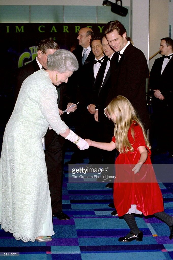The Queen Attending The Royal Film Performance At The Odeon Cinema, Leicester Square, London, In Aid Of The Cinema And Television Benevolent Fund. The Queen Meets Taylor Momsen From The Movie 'the Grinch'. (Photo by Tim Graham Picture Library/Getty Images)