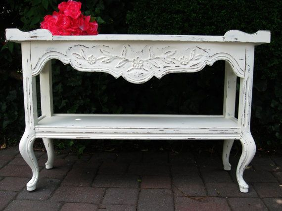 Reserved Kathy Sofa Table 60 S Hand Painted Drexel French Provincial Shabby Chic Cottage Beach My Etsy Pinterest