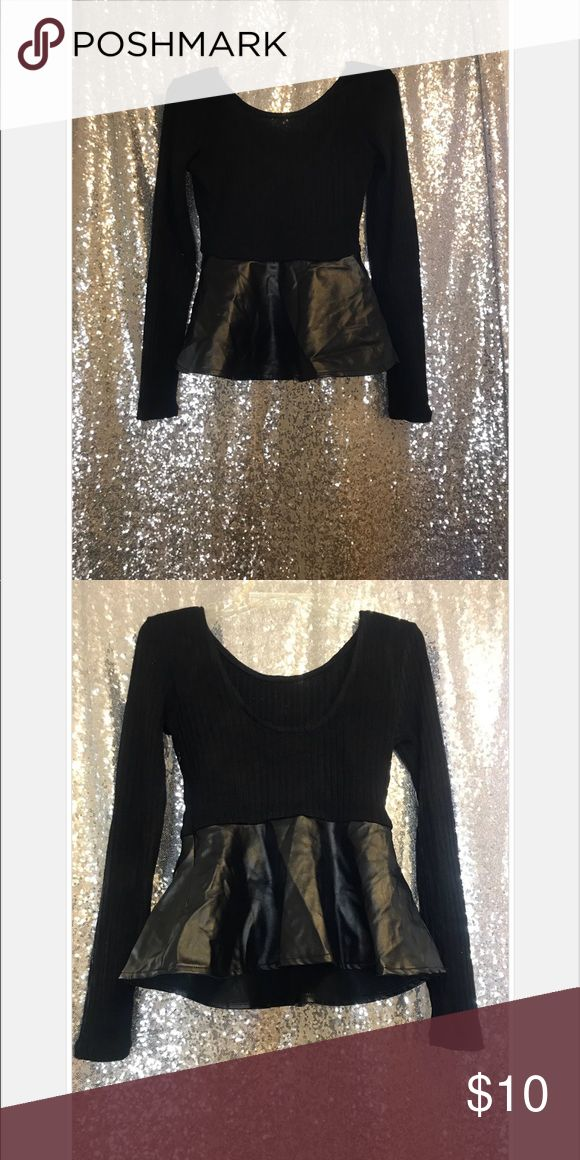 AKIRA Black Faux Leather Peplum Top SMALL Never worn! Great combination of faux leather in this long sleeve Peplum top!  Size Small AKIRA Tops Tees - Long Sleeve
