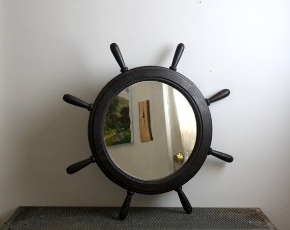 I need to find another one of these for my bedroom. (Large vintage ship's wheel mirror)