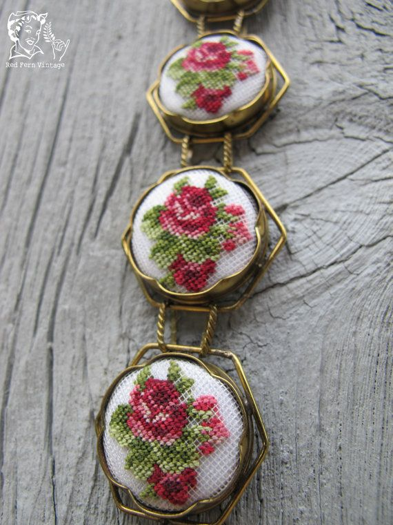 Vintage Floral Needlepoint Bracelet by LOSTandFOUNDct on Etsy