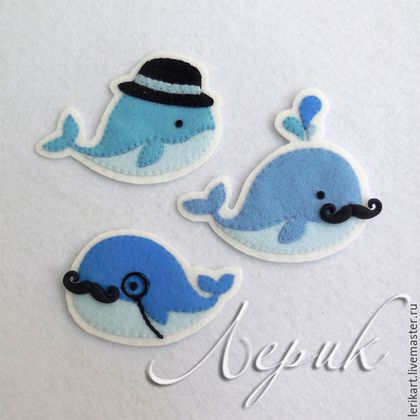 Whale brooches - Felt Crafts