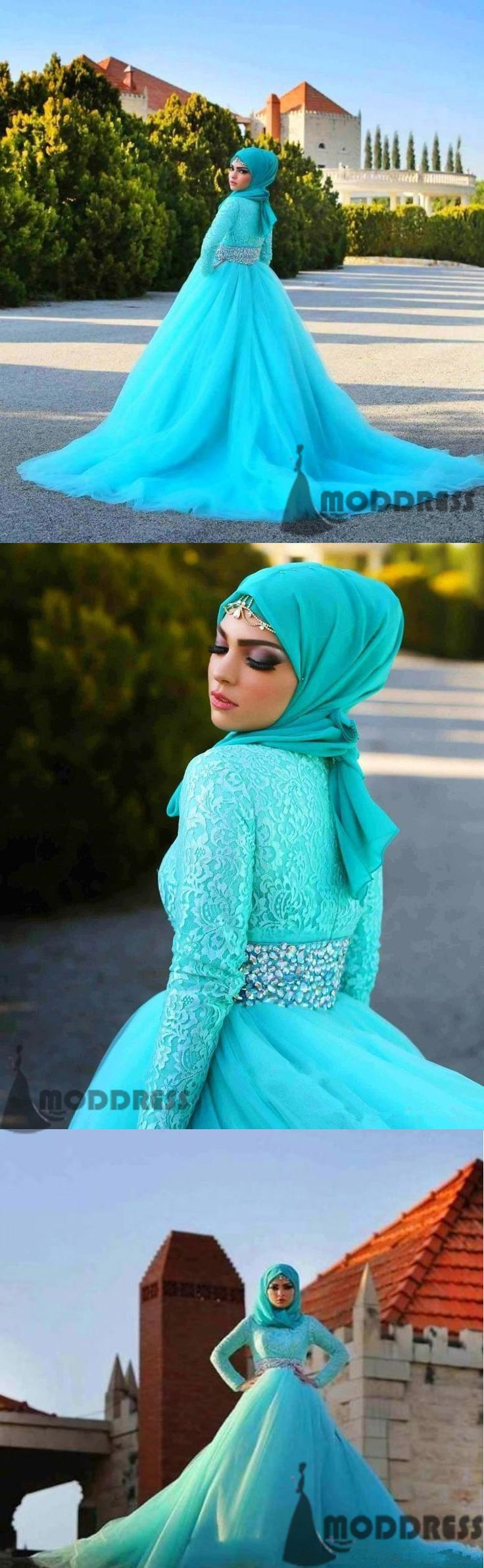 Muslim Wedding Dresses Crystal Tulle Bridal Dresses,HS682 #weddingdress#fashion#promdress#eveningdress#promgowns#cocktaildress