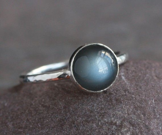 I've never seen black moonstone before! It reminds me a bit of my favorite stone, labradorite.Style, Baubles, Moonstones Before, Sterling Silver Rings, Black Moonstones