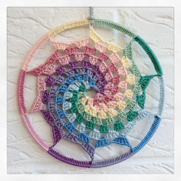 Spiral Hoop Wall Art Crochet Pastel Rainbow Mandala Dreamcatcher Suncatcher. Granny Stitch Crochet spiral attached to a metal macrame hoop ring. ❤