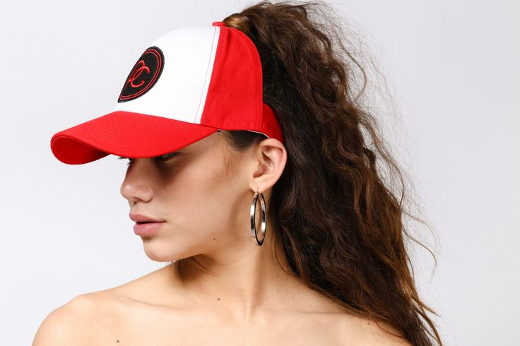 Red half cap with embroidered logo by PICHICHI