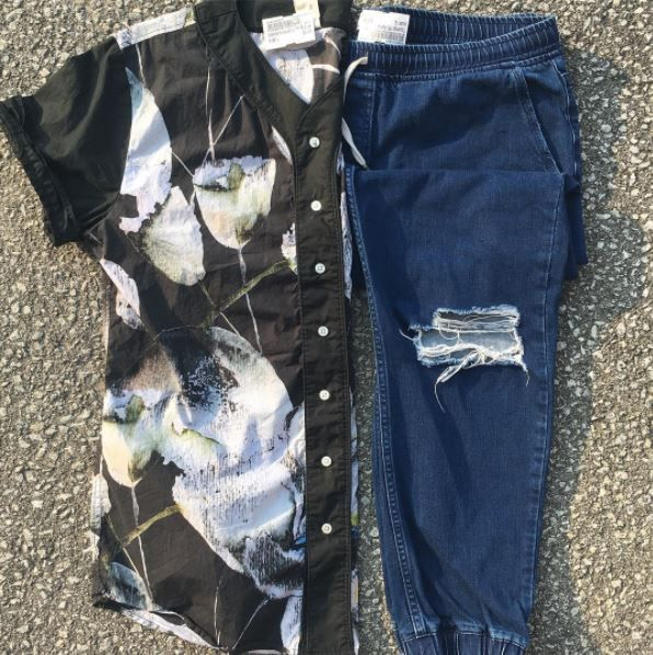Guys! Want to make easy money? Come in to #platosclosetoakville and sell your gently used clothes for cash on the spot! • #standardissue top - L - $5 #topshop joggers - XL - $18 • #ootd #mensfashion #distressed #denim #distresseddenim #buttondownshirt #fashion #easymoney #cash #makingmoney | www.platosclosetoakville.com