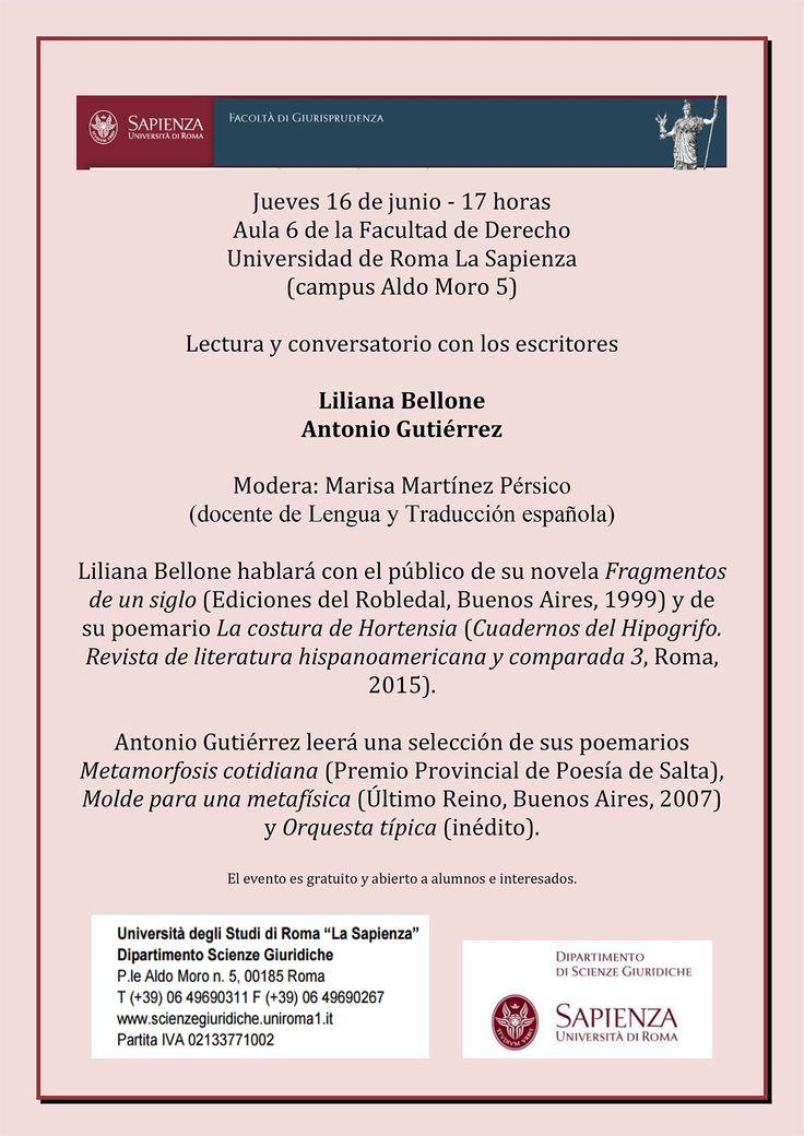 """Jueves 16 de junio - 17 horas - Invitación """"conversatorio"""" con los escritores Liliana Bellone/Antonio Gutiérrez  Modera: Marisa Martínez Pérsico (docente de Lengua y Traducción española)"""