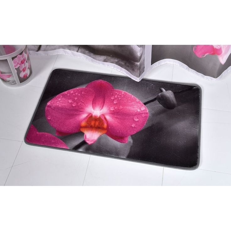 Evideco Microfiber Bath Mat Design Chic AND ZEN Gray Pink Bath Rug
