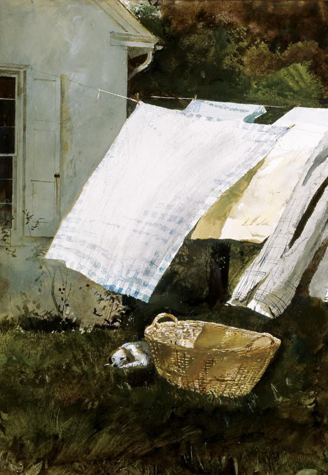 Andrew Wyeth. On his birthday, July 12th.Clotheslines, Artists, Clothing Line, Watercolors, Lights Wash, Linens, Oil Painting, Andrew Wyeth Art, Laundry Room