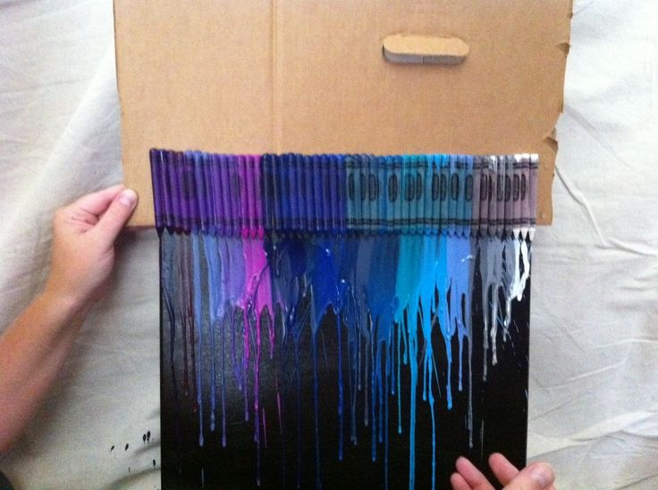 Friday is art day melting crayon art hunt 39 s black for Melted crayon art with quotes