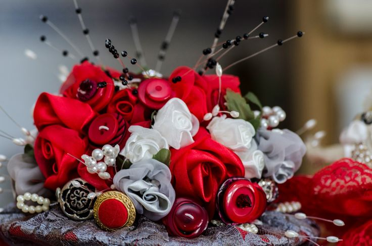 Wedding Photographer - Candid Photos of a Lifetime  Bouquet of buttons, beads & flowers made by the brides mum.