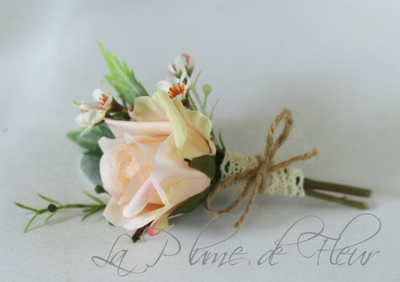 Liam - Men's Buttonhole / Boutonniere - vintage, country Garden style buttonhole, peach rose, Geraldton wax and grey foliage.