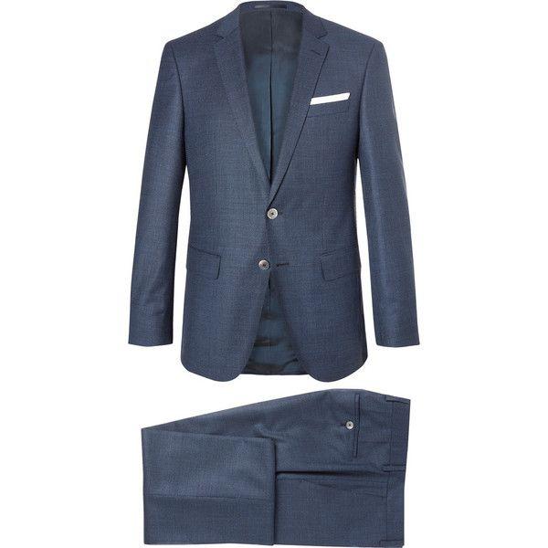 Hugo Boss Blue Hutson Ganda Slim-Fit Super 120s Virgin Wool... (58.220 RUB) via Polyvore featuring men's fashion, men's clothing, men's suits, mens 3 piece suits, mens fitted suits, mens slim cut suits, mens slim suits и mens blue slim fit suit
