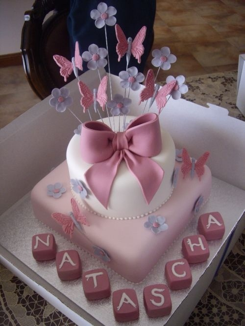 Pink and purple christening cake by Riverland Cake Design