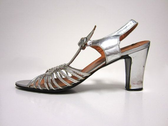 1950s Silver Strappy Sandals With MidHeight by UrbanCurveVintage