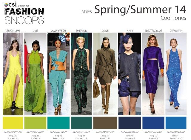 Men and women's color trends for spring/summer 2014 in warm, cool and neutral tones